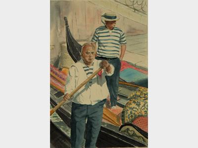 Dipinti: Gondolieri, di Oscar Morosini
