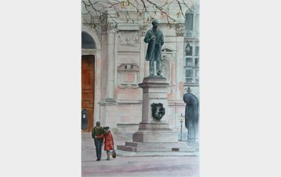 Dipinti: Milano - Innamorati in piazza San Fedele, di Oscar Morosini