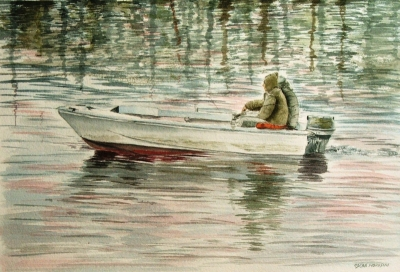 Pescatori sulla foce del Magra, di Oscar Morosini