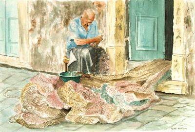 Dipinti: Riparatore di reti, di Oscar Morosini