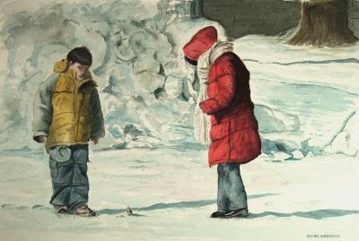Dipinti: Un simpatico incontro, di Oscar Morosini